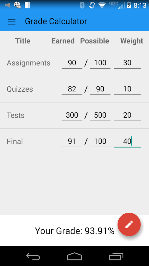 Easy Grade Calculator- screenshot