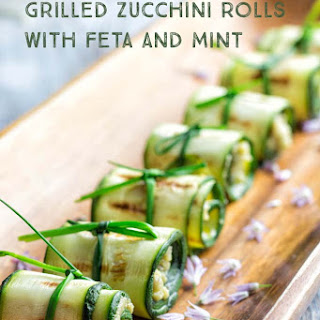 Grilled Zucchini Rolls with Feta and Mint