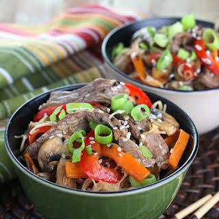 Beef & Mushroom Stir-fry with Rice Noodles.