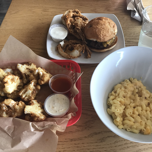 Mac and cheese, buffalo cauliflower bites, and a cheeseburger with onion rings. Delicious!