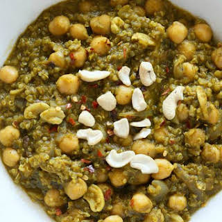 Chickpea Spinach Stew With Lentils and Quinoa [Vegan, Gluten-Free].