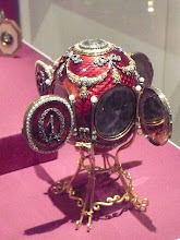 Photo: Imperial Caucasus Egg, St. Petersburg, 1893, presented by Alexander III to his wife Maria Feodorovna on Easter Sunday 1893.  The egg is made of yellow and varicoloured gold, silver, ruby enamel, rose-cut diamonds, portrait diamonds, platinum, ivory, pearls, rock crystal and watercolor on ivory. It commemorates the hunting lodge where Grand Duke George spent most of his life after being diagnosed with tuberculosis. Miniatures are revealed by opening four doors around the egg. Each door bears a diamond-set numeral of the year, forming the year 1893. Behind the hinged cover at the top is a portrait of the Grand Duke in his naval uniform. This is the first Imperial egg known to be dated. Ruby red enamel was used only one other time as Alexei's hemophilia was a constant worry for the family. http://en.wikipedia.org/wiki/Caucasus_%28Faberg%C3%A9_egg%29 Part of the Matilda Geddings Gray collection of Faberge and usually resides in the Cheekwood Botanical Garden and Museum of Art in Nashville, TN.