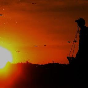 hard working by Andrie Fery - People Portraits of Men ( sunset, sundown, sunrise, sun, man )