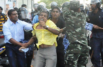 Photo: MP, Male', Former leader of MDP Parliamentary Group and current chairperson of MDP violently attacked by Police
