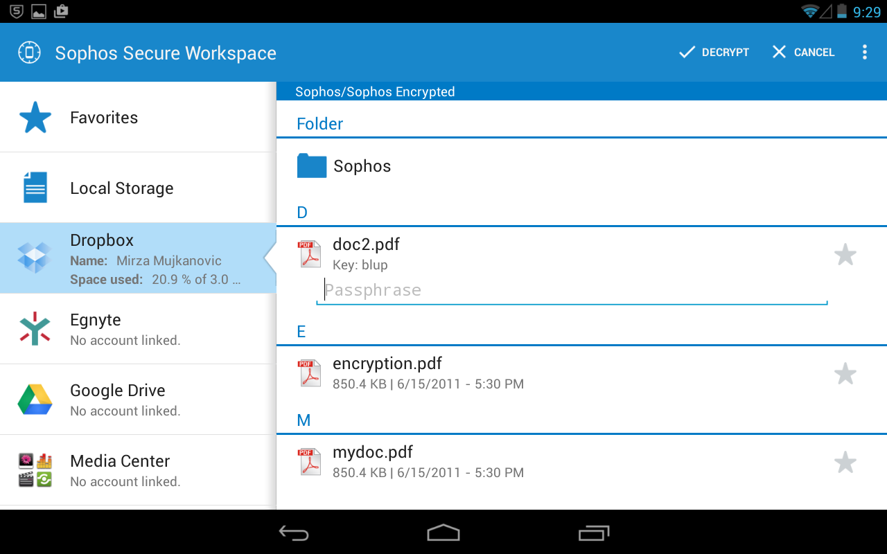 Sophos Secure Workspace- screenshot