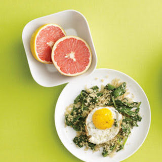 Fried Egg Over Spinach Quinoa.