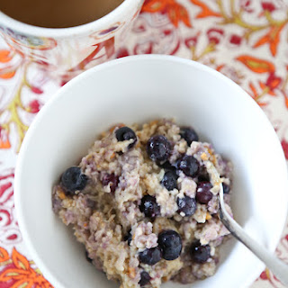 Blueberry, Banana and Peanut Butter Oatmeal.