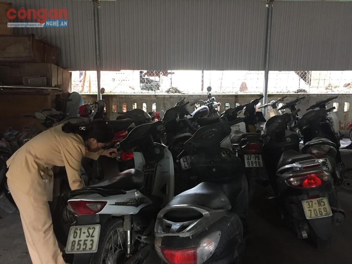 Cán bộ CSGT kiểm tra các phương tiện bị tạm giữ