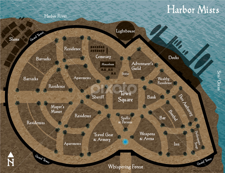 Harbor Mists Map | Sci Fi & Fantasy | Illustration !!! | Pixoto