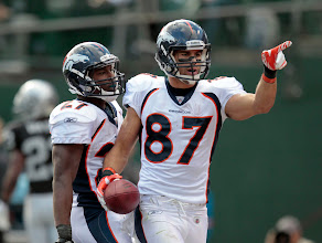 Photo: Eric Decker scored the first touchdown of the game for the Broncos. Photo by Eric Lars Bakke / Denver Broncos