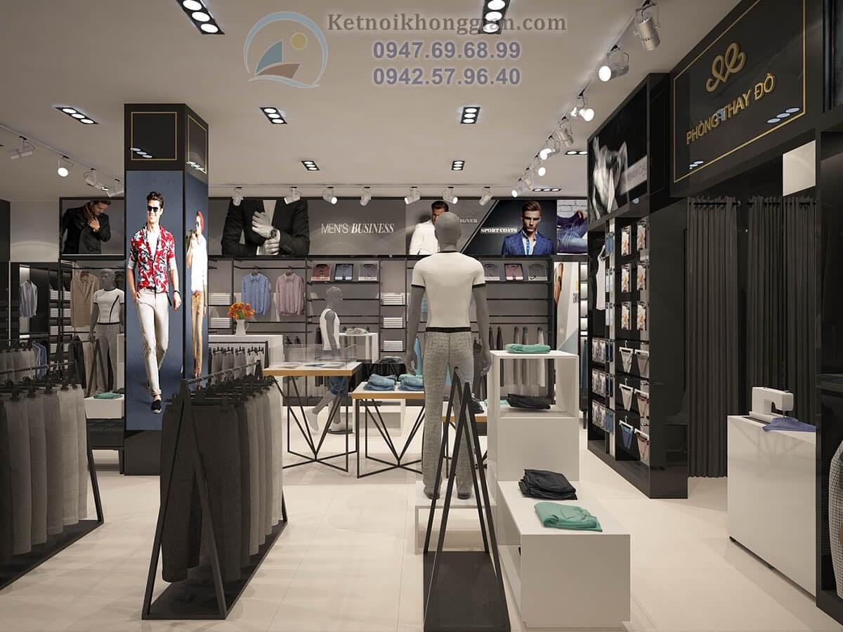 thiết kế shop thời trang nam thương hiệu lớn