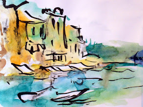 Photo: Portofino, Italy (first time sketching with Japanese pen brush enhanced with watercolor)