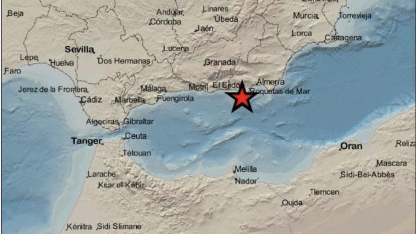 Imagen del IGN del terremoto en La Mojonera.