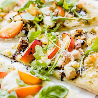 Nectarine Arugula Pizza with Balsamic Drizzle Recipe