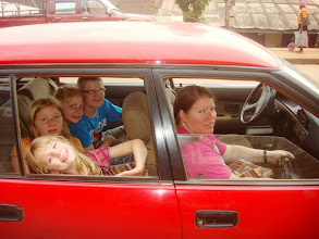 Photo: Our family inside Old Faithful just a couple weeks before God provided our new car!