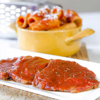 SLOW COOKED EYE OF ROUND STEAKS with pizzaiola sauce.