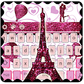 Eiffel Tower Pink Glitter Paris Keyboard Theme.
