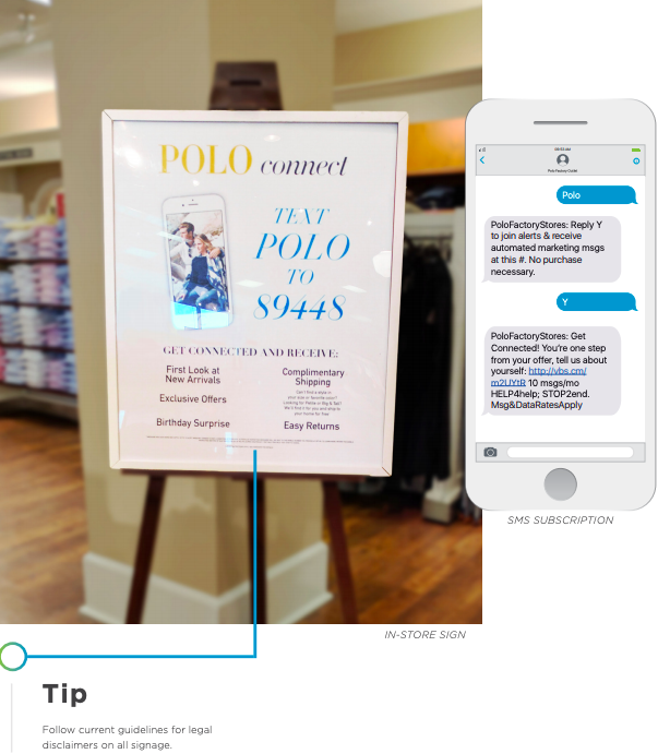 how to get more sms subscribers from in-store signs