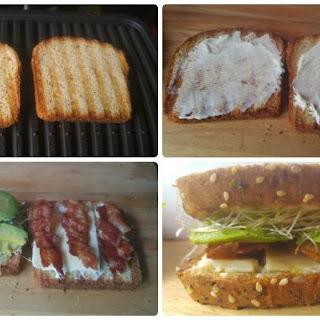Avocado, Bacon & Sprouts Sandwich.