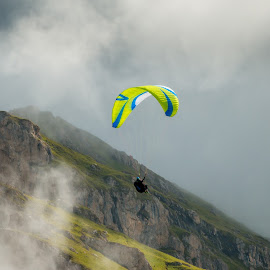 by Mario Horvat - Sports & Fitness Other Sports ( cloud, adventure, outdoor, dolomites, color, paraglide, seceda, dolomiti, landscape, mist )
