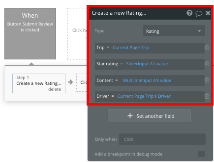 Bubble Create New Rating in Uber Clone App Workflow
