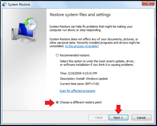 Performing System Restore Window 7 - Step 8
