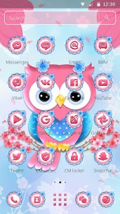 Cute Pink Owl Theme - náhled