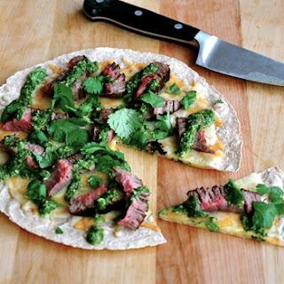 Open-Face Steak Quesadilla with Chimichurri Sauce