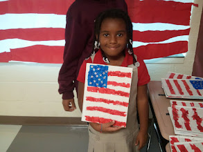 Photo: Kaleya showing her patriotic journal - Museum Night 10/6/11