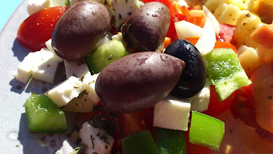 Photo: Greek salad to the left.