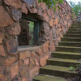by Kathy Suttles - Buildings & Architecture Decaying & Abandoned ( medicine park, abandoned, oklahoma, cobblestone remains, suttlimpressions )