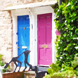 Ludlow doors by Vicki Clemerson - Digital Art Things ( door, railings, pink, greenery, blue, car, bush, steps, dog )