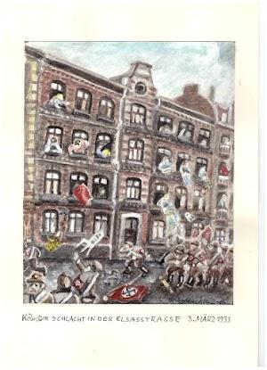 Walter Stehlings Gemälde stellt die Bewohner dar, die am 03.03.1933 in der Elsaßstr. die einrückenden Nazis mit Blumen- und Pisspötten attakieren.