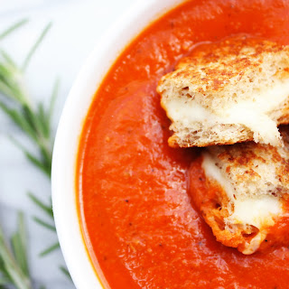 Roasted Red Pepper and Tomato Soup with Grilled Cheese Croutons