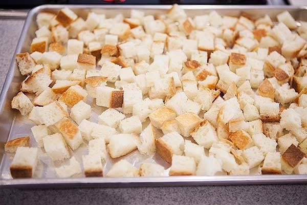 Now mix in the bread croutons. There should be a lot of bread croutons...