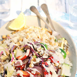 Chickpea And Grilled Vegetable Couscous Salad With Tahini Dressing.
