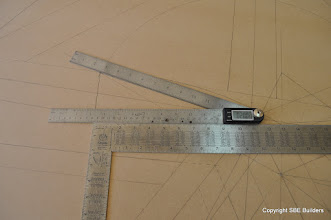Photo: Skewed valley rafter miter cut angle at the peak of the rafter.
