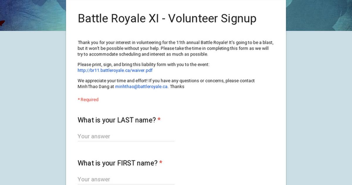 battle royale xi volunteer signup