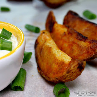 Crispy Buffalo Potato Wedges.