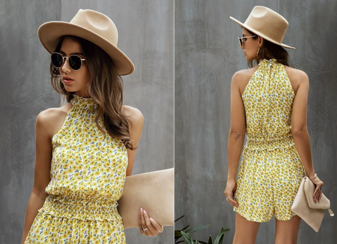 Model in yellow flowery outfit | Hopikas | Influencer program