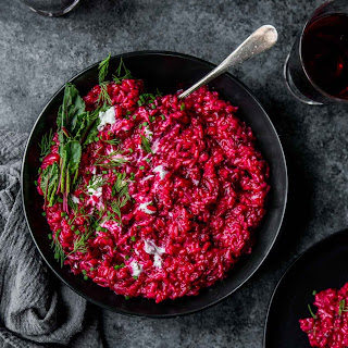 Beet Risotto with Goat Cheese.