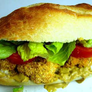 Crispy Cauliflower Po' Boy Sandwich with Remoulade Sauce [Vegan].