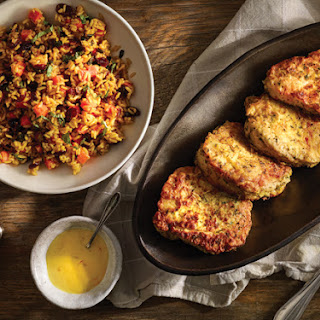 Creamy Marinated Pork Chops with Vegetable Yellow Rice.