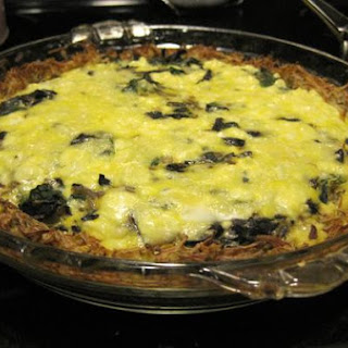 Potato Crusted Spinach and Mushroom Quiche