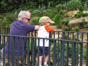 Photo: Day 3 - RC and Grady Jeremiah watching an outdoor model train in the world showcase at EPCOT