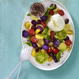 Purple Potato, Olive and Tomato Salad with Buffalo Mozzarella.