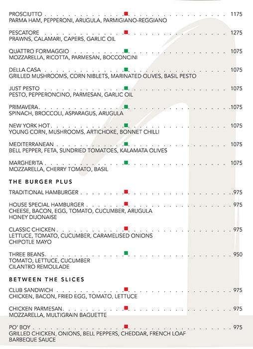 The One - Le Meridien menu 2