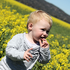 Playing in Canola Fields by Sue Bensted - Novices Only Portraits & People ( crops, flowers, landscape, toddler )