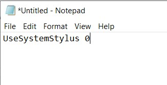 The Pen Pressure modification command in a NotePad document