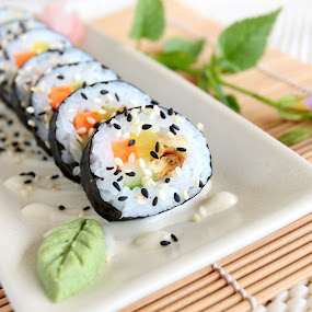 Vegan Sushi by ChenLin Kng - Food & Drink Plated Food ( vegan, food, sushi, loving hut, plated food, wasabi, sesame, mayonnaise )